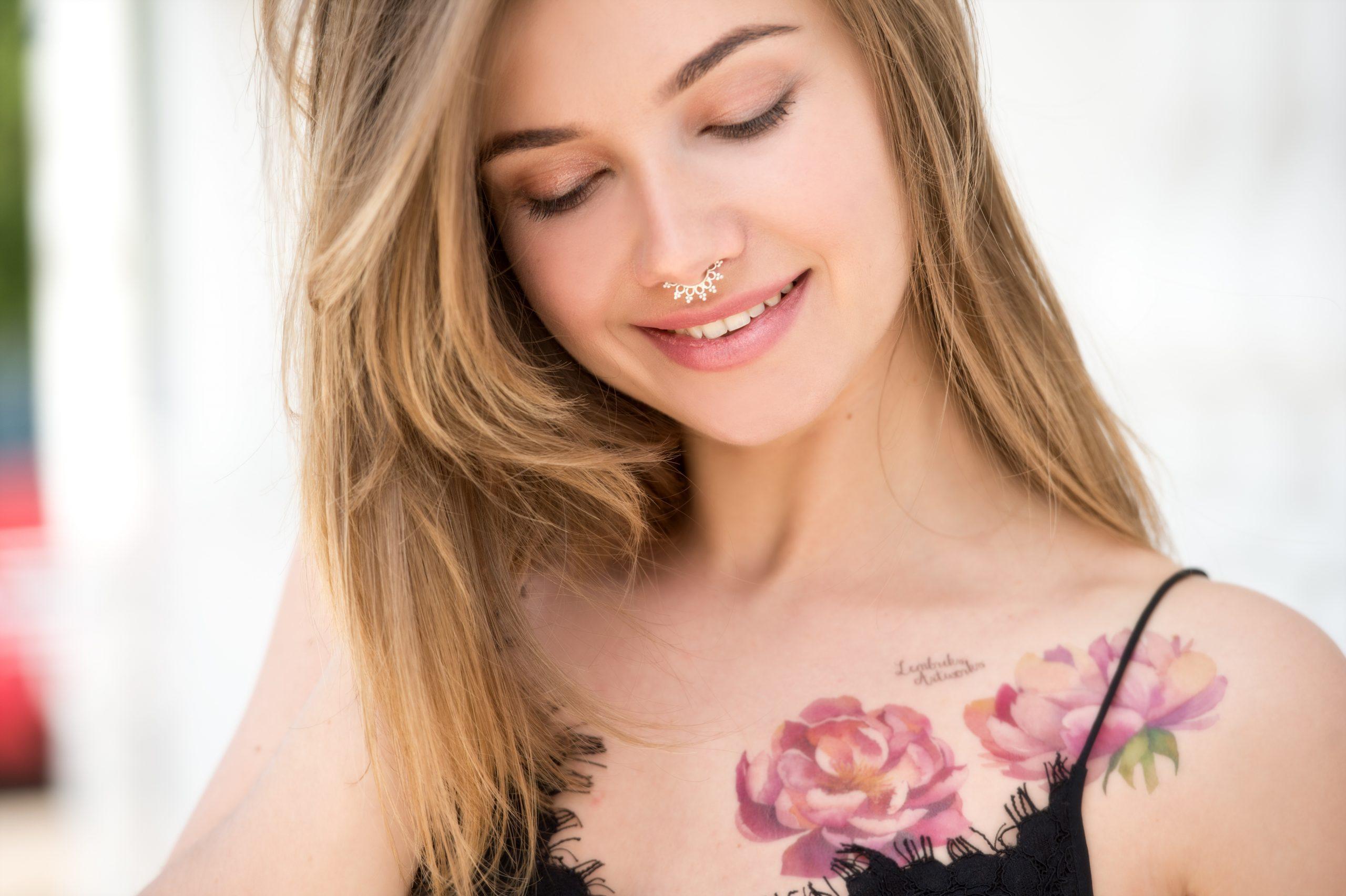 Girl tattooed